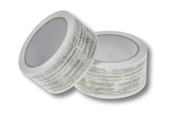 PP-Packband, 50 mm / 66 m, Acrylat, weiß, Frohe Weihnachten