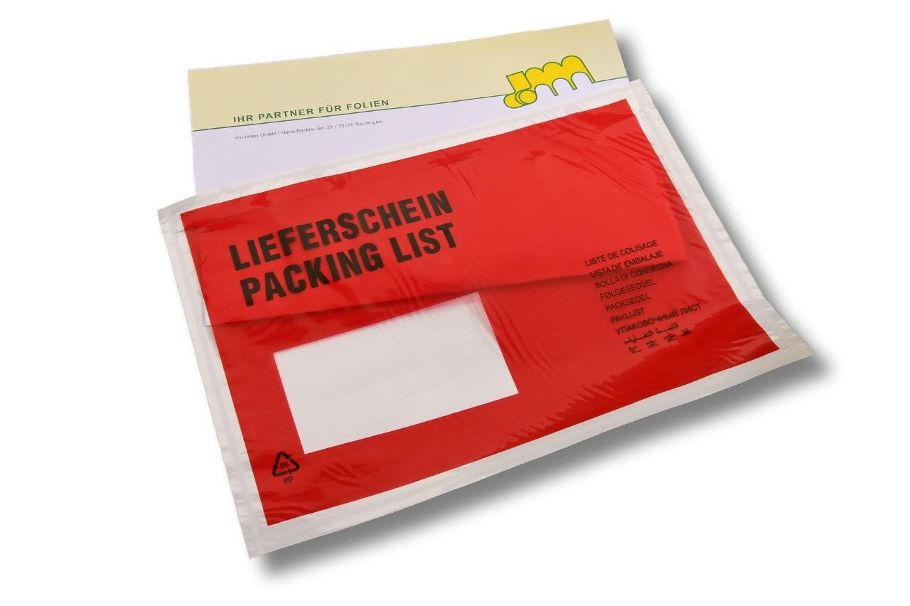 Versandtaschen C5 bedruckt: Lieferschein