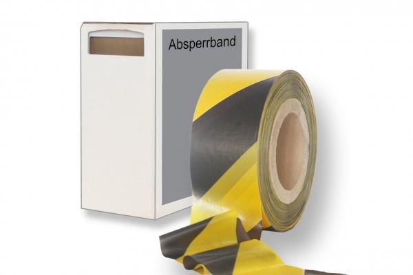Absperrband schwarz gelb in Box